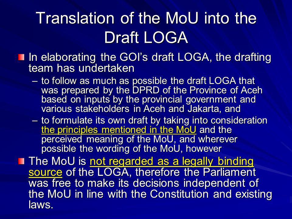 MoU: Principles of LOGA (1/8) 1 st principle (Article 1.1.2.