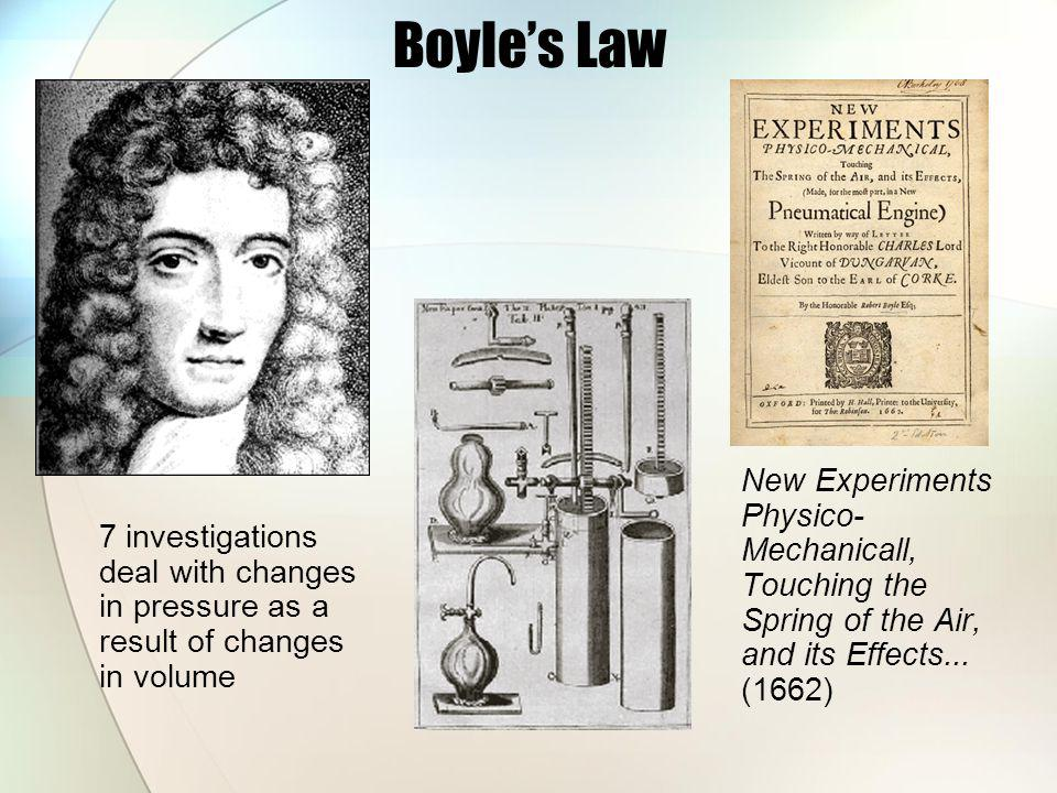 Boyles Law New Experiments Physico- Mechanicall, Touching the Spring of the Air, and its Effects... (1662) 7 investigations deal with changes in press