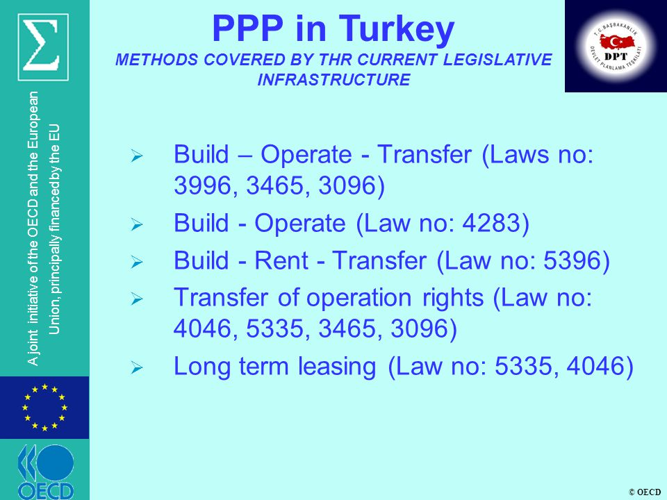 © OECD A joint initiative of the OECD and the European Union, principally financed by the EU Build – Operate - Transfer (Laws no: 3996, 3465, 3096) Build - Operate (Law no: 4283) Build - Rent - Transfer (Law no: 5396) Transfer of operation rights (Law no: 4046, 5335, 3465, 3096) Long term leasing (Law no: 5335, 4046) PPP in Turkey METHODS COVERED BY THR CURRENT LEGISLATIVE INFRASTRUCTURE