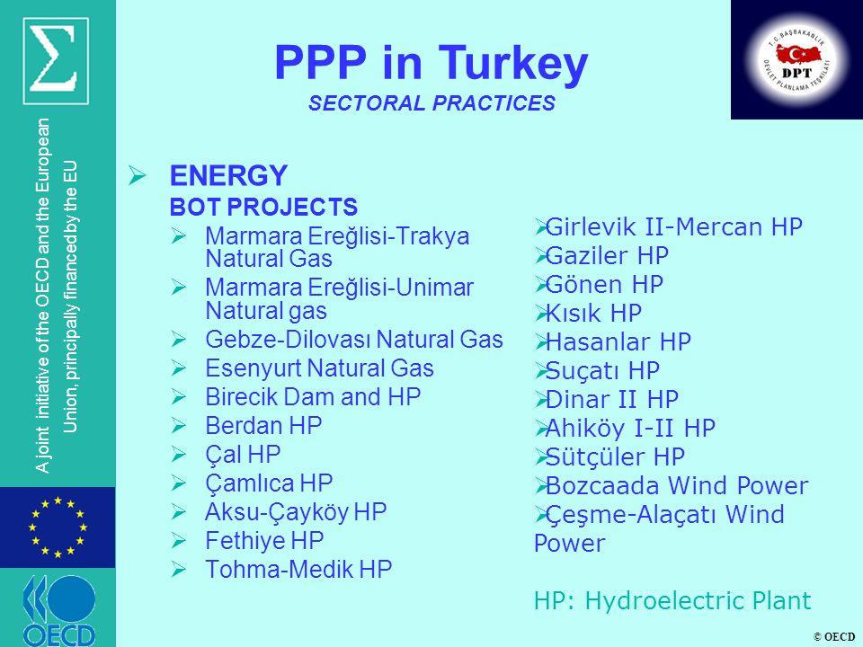 © OECD A joint initiative of the OECD and the European Union, principally financed by the EU ENERGY BOT PROJECTS Marmara Ereğlisi-Trakya Natural Gas Marmara Ereğlisi-Unimar Natural gas Gebze-Dilovası Natural Gas Esenyurt Natural Gas Birecik Dam and HP Berdan HP Çal HP Çamlıca HP Aksu-Çayköy HP Fethiye HP Tohma-Medik HP PPP in Turkey SECTORAL PRACTICES Girlevik II-Mercan HP Gaziler HP Gönen HP Kısık HP Hasanlar HP Suçatı HP Dinar II HP Ahiköy I-II HP Sütçüler HP Bozcaada Wind Power Çeşme-Alaçatı Wind Power HP: Hydroelectric Plant