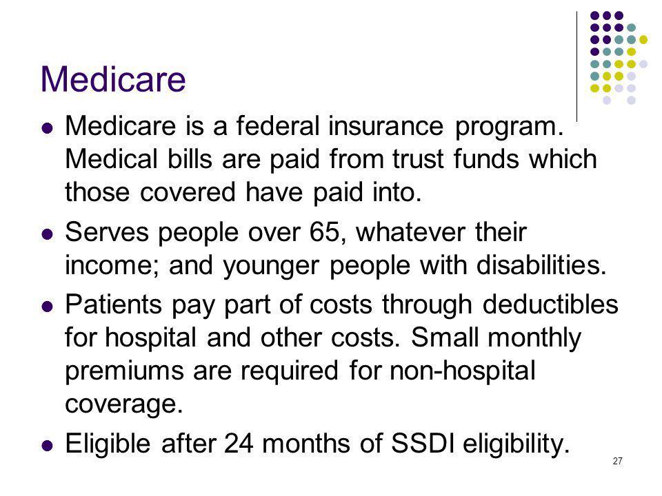 27 Medicare Medicare is a federal insurance program.