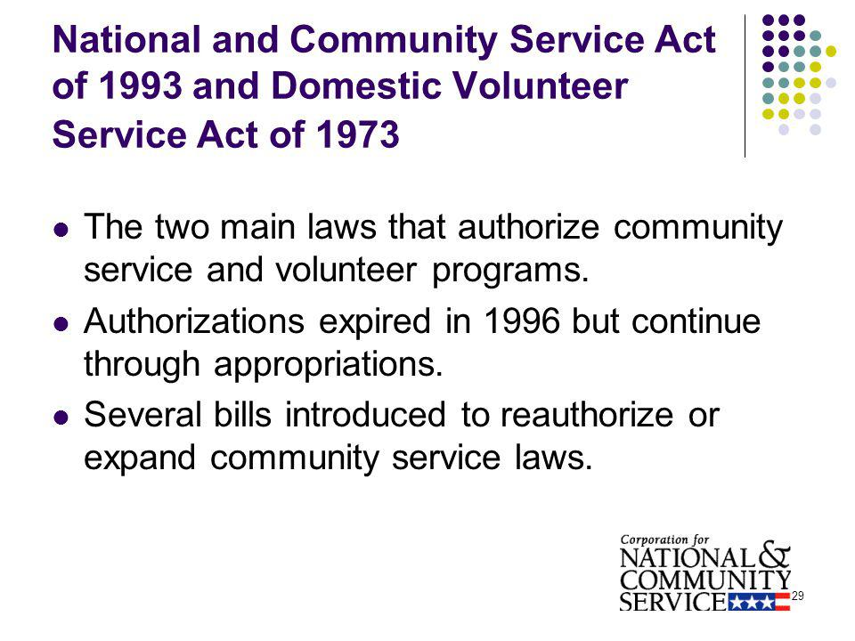 29 National and Community Service Act of 1993 and Domestic Volunteer Service Act of 1973 The two main laws that authorize community service and volunteer programs.