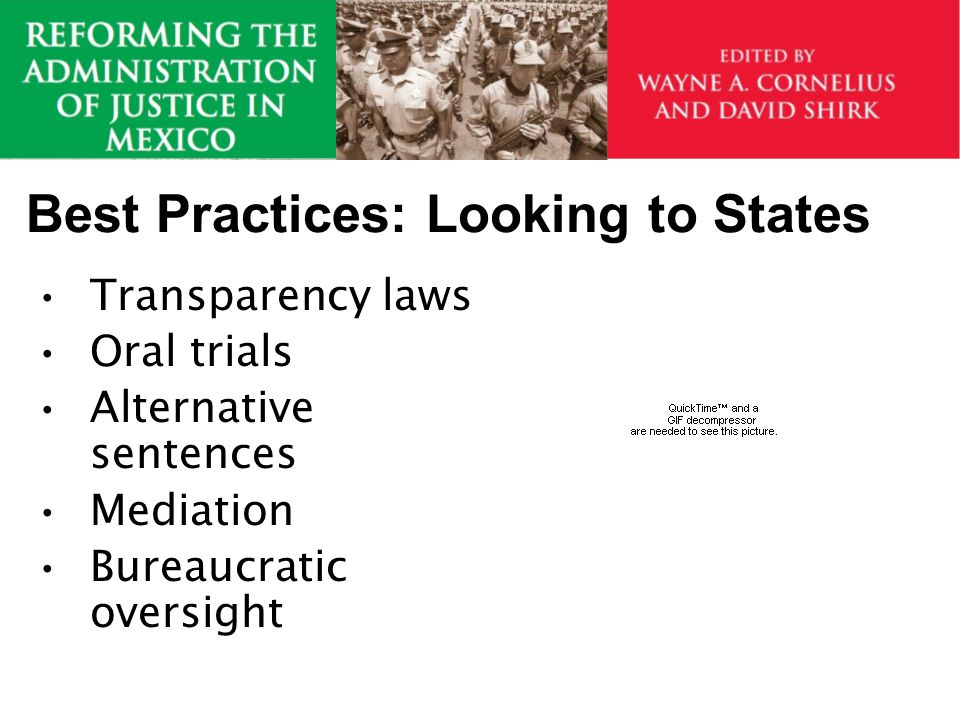 Best Practices: Looking to States Transparency laws Oral trials Alternative sentences Mediation Bureaucratic oversight