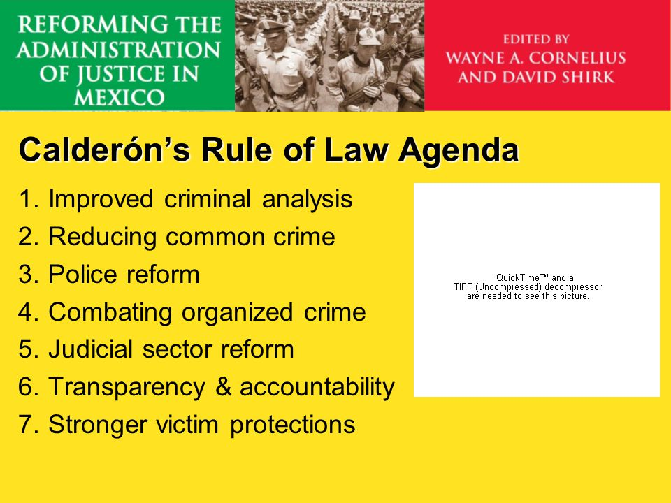 Calderóns Rule of Law Agenda 1.Improved criminal analysis 2.Reducing common crime 3.Police reform 4.Combating organized crime 5.Judicial sector reform