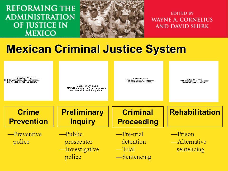 Mexican Criminal Justice System Crime Prevention Preliminary Inquiry Criminal Proceeding Rehabilitation Public prosecutor Investigative police Preventive police Pre-trial detention Trial Sentencing Prison Alternative sentencing