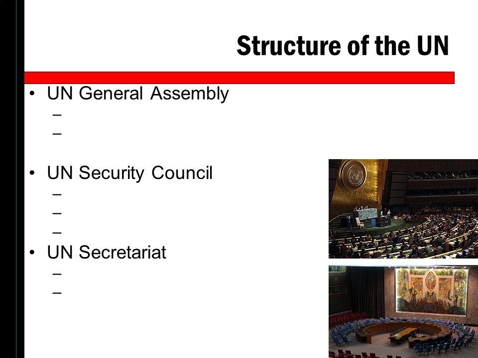 Structure of the UN UN General Assembly – UN Security Council – UN Secretariat –