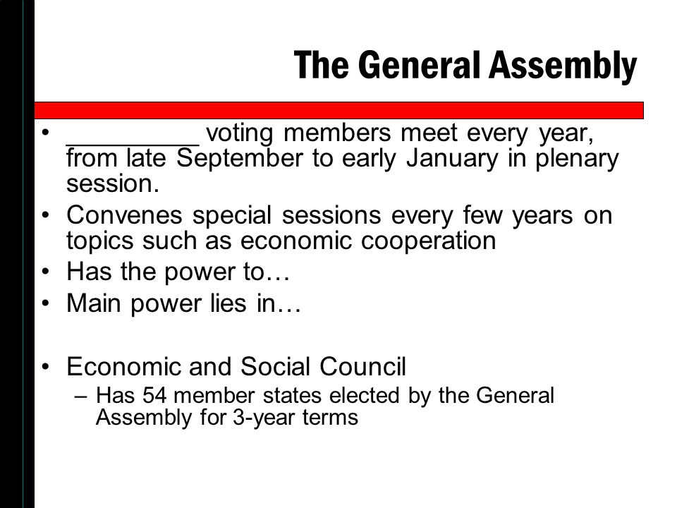The General Assembly _________ voting members meet every year, from late September to early January in plenary session. Convenes special sessions ever