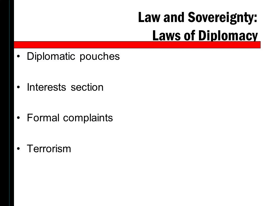 Law and Sovereignty: Laws of Diplomacy Diplomatic pouches Interests section Formal complaints Terrorism