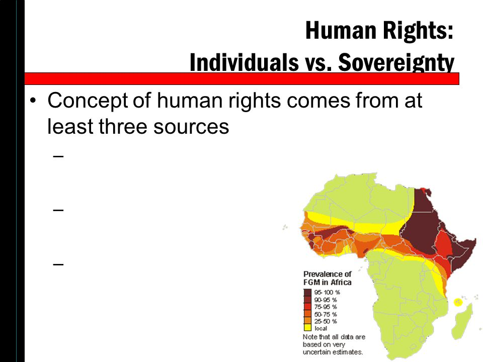 Human Rights: Individuals vs. Sovereignty Concept of human rights comes from at least three sources –
