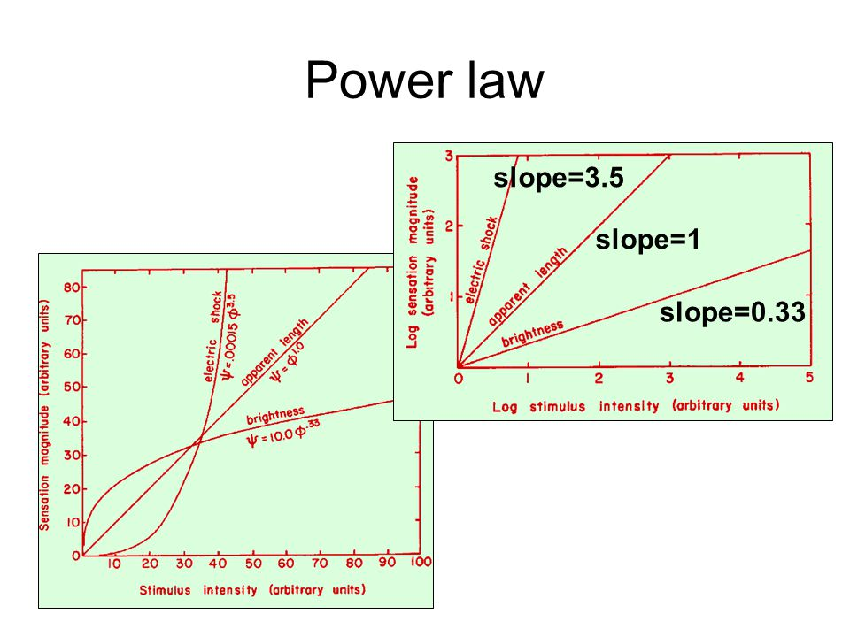 Power law Power law: S = kI a Take the logarithm of both sides: log(S) = a log(I) + log(k) K=log(k) is constant: log(S) = a log(I) + K This is the equation of a line (in the form of y = ax + b) a: slope; K: x-intercept