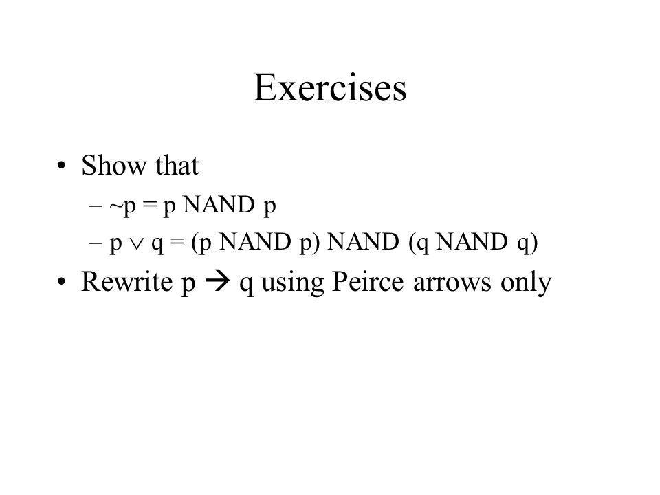 Exercises Show that –~p = p NAND p –p q = (p NAND p) NAND (q NAND q) Rewrite p q using Peirce arrows only