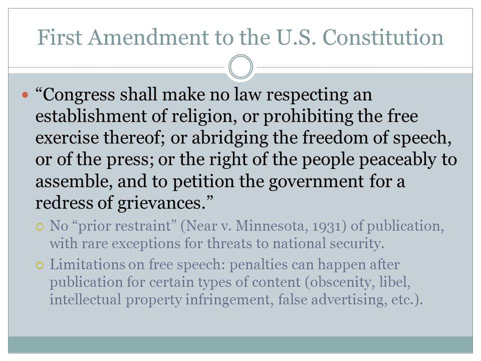 First Amendment to the U.S.