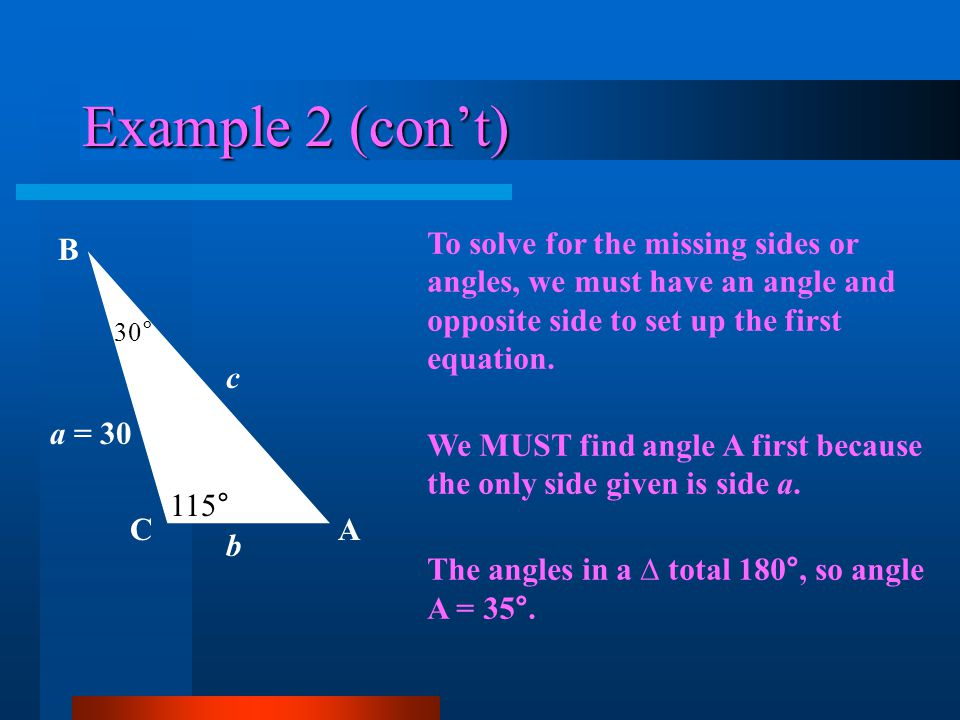 The Ambiguous Case (SSA) Situation II: Angle A is acute - EXAMPLE 2 Using the Law of Sines will give us the ONE possible solution: A B 10 = b C c a = 12 40°