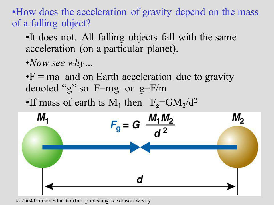 © 2004 Pearson Education Inc., publishing as Addison-Wesley How does the acceleration of gravity depend on the mass of a falling object? It does not.