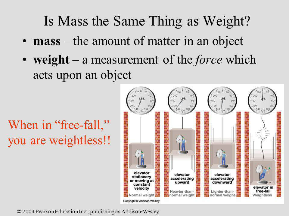 © 2004 Pearson Education Inc., publishing as Addison-Wesley Is Mass the Same Thing as Weight? mass – the amount of matter in an object weight – a meas