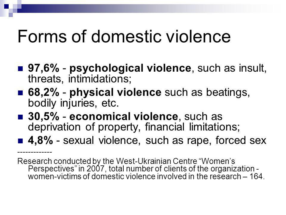 Forms of domestic violence 97,6% - psychological violence, such as insult, threats, intimidations; 68,2% - physical violence such as beatings, bodily injuries, etc.
