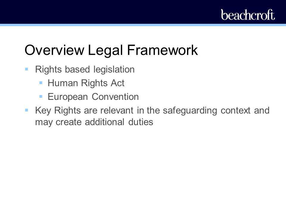 Overview Legal Framework Rights based legislation Human Rights Act European Convention Key Rights are relevant in the safeguarding context and may cre