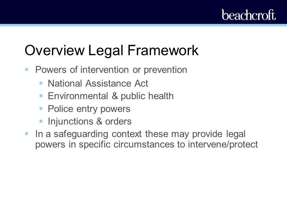 Overview Legal Framework Powers of intervention or prevention National Assistance Act Environmental & public health Police entry powers Injunctions &