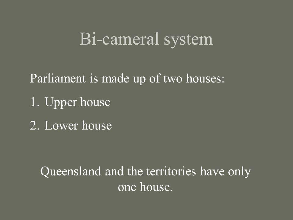Bi-cameral system Parliament is made up of two houses: 1.Upper house 2.Lower house Queensland and the territories have only one house.