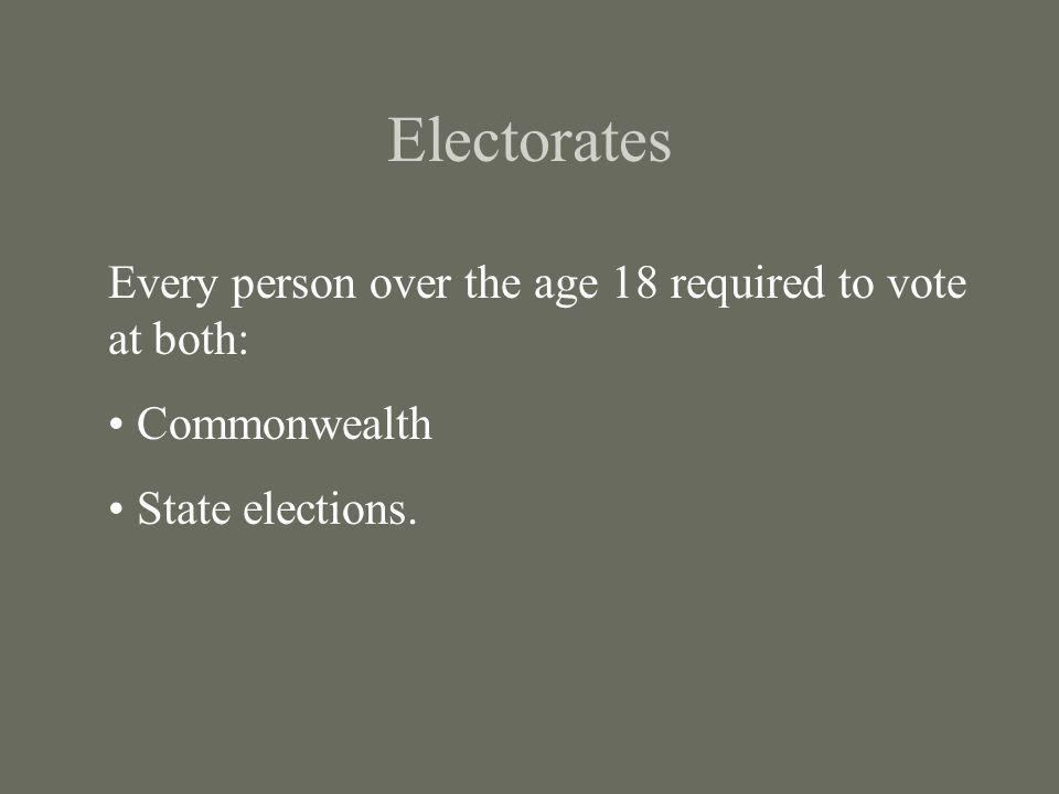 Electorates Every person over the age 18 required to vote at both: Commonwealth State elections.