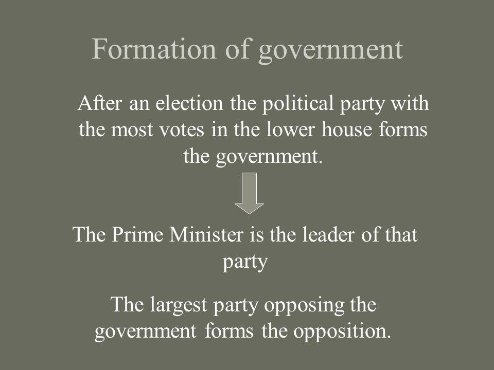 Formation of government After an election the political party with the most votes in the lower house forms the government. The Prime Minister is the l