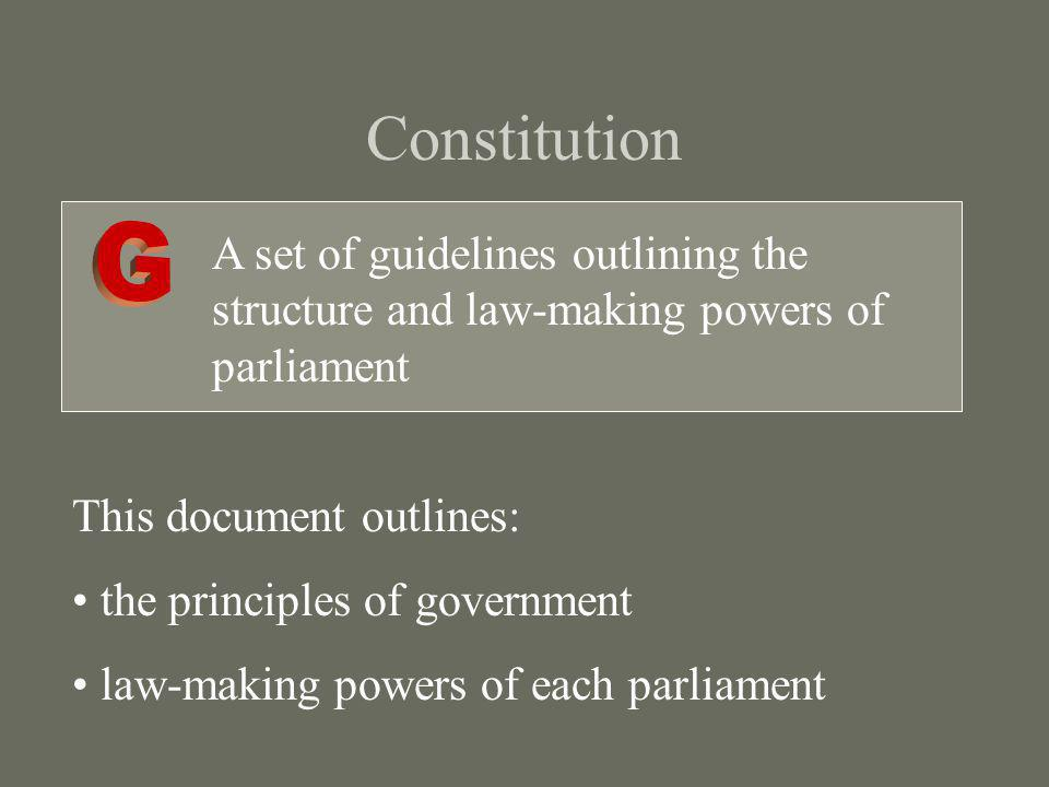 Constitution A set of guidelines outlining the structure and law-making powers of parliament This document outlines: the principles of government law-