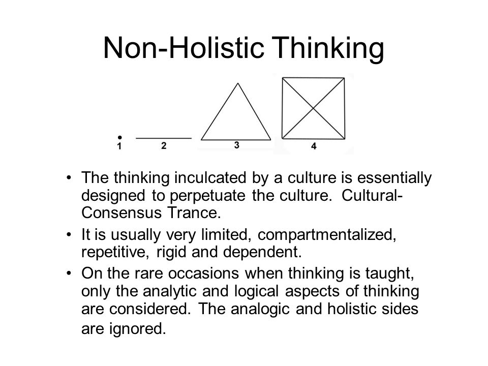 The thinking of most people is linear, stunted, warped and entranced.
