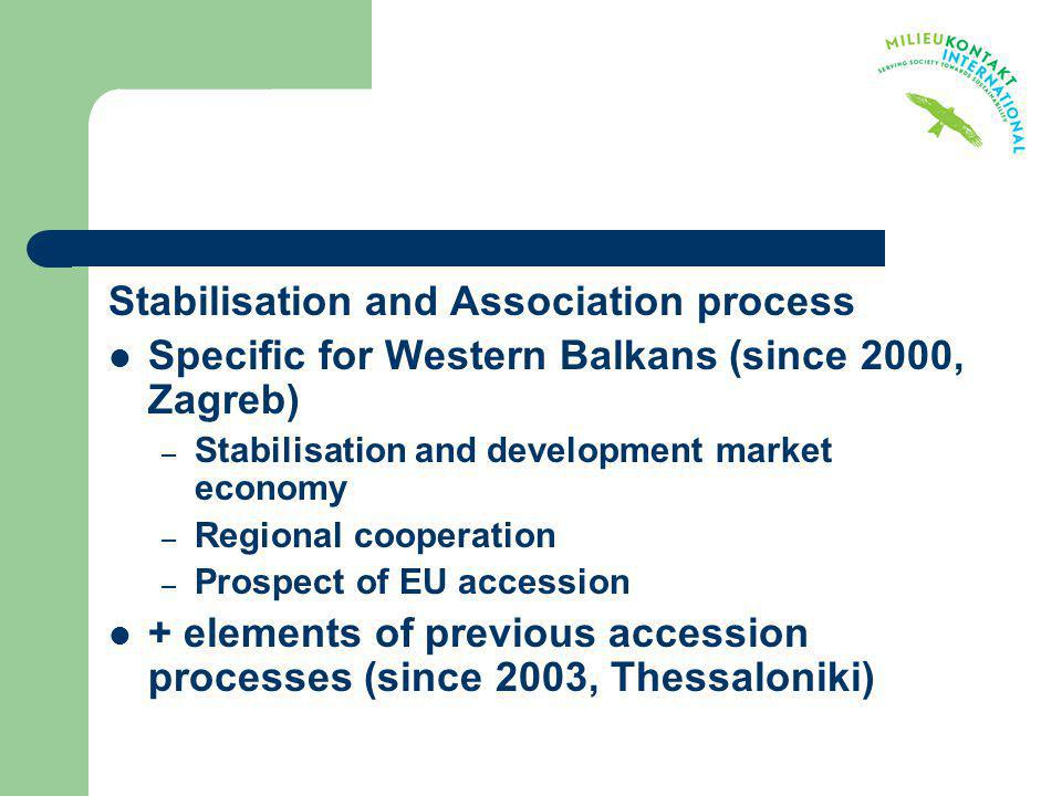 Stabilisation and Association process Specific for Western Balkans (since 2000, Zagreb) – Stabilisation and development market economy – Regional coop