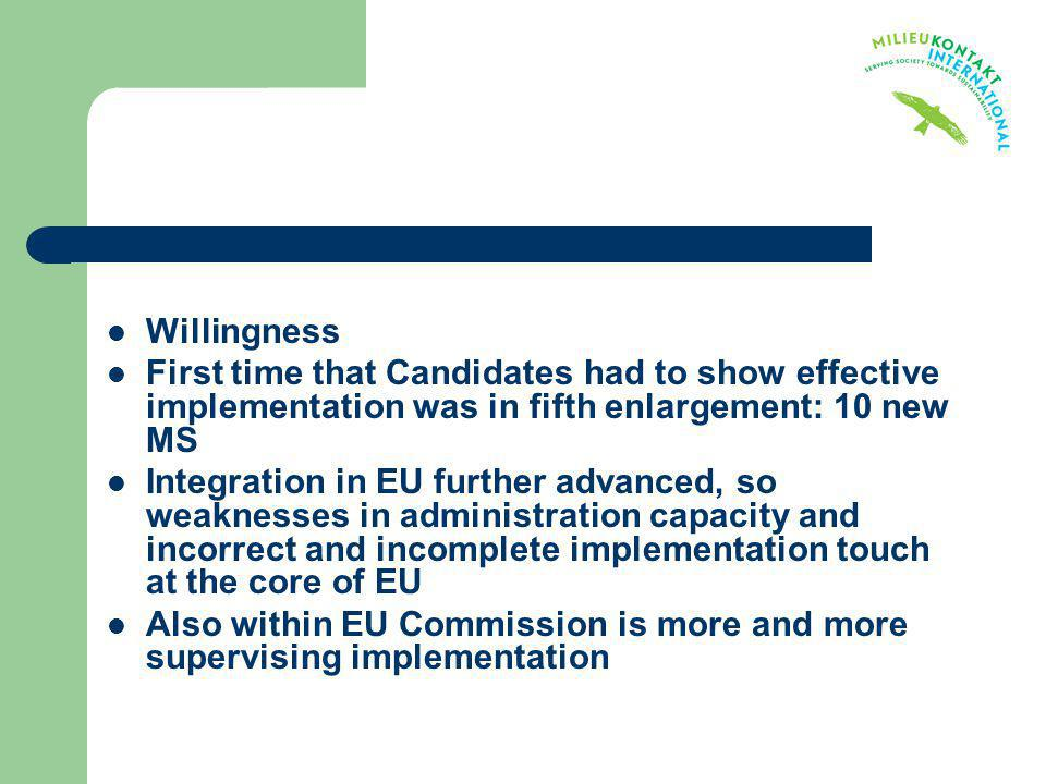 Willingness First time that Candidates had to show effective implementation was in fifth enlargement: 10 new MS Integration in EU further advanced, so