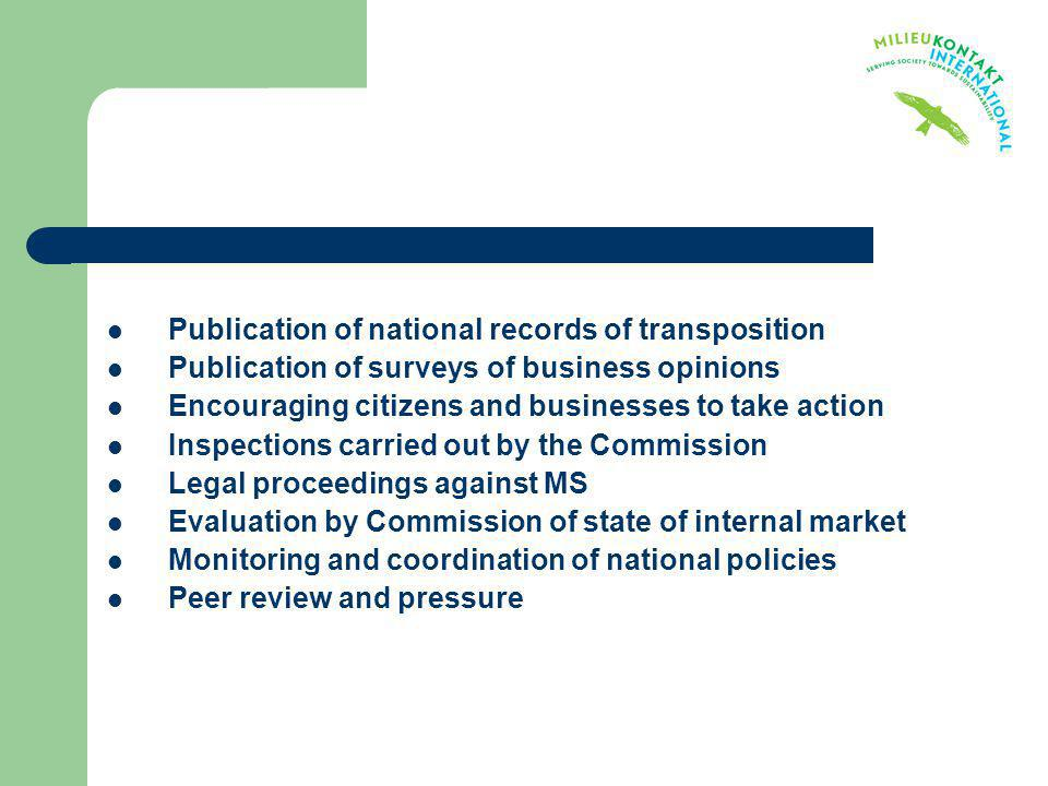 Publication of national records of transposition Publication of surveys of business opinions Encouraging citizens and businesses to take action Inspec