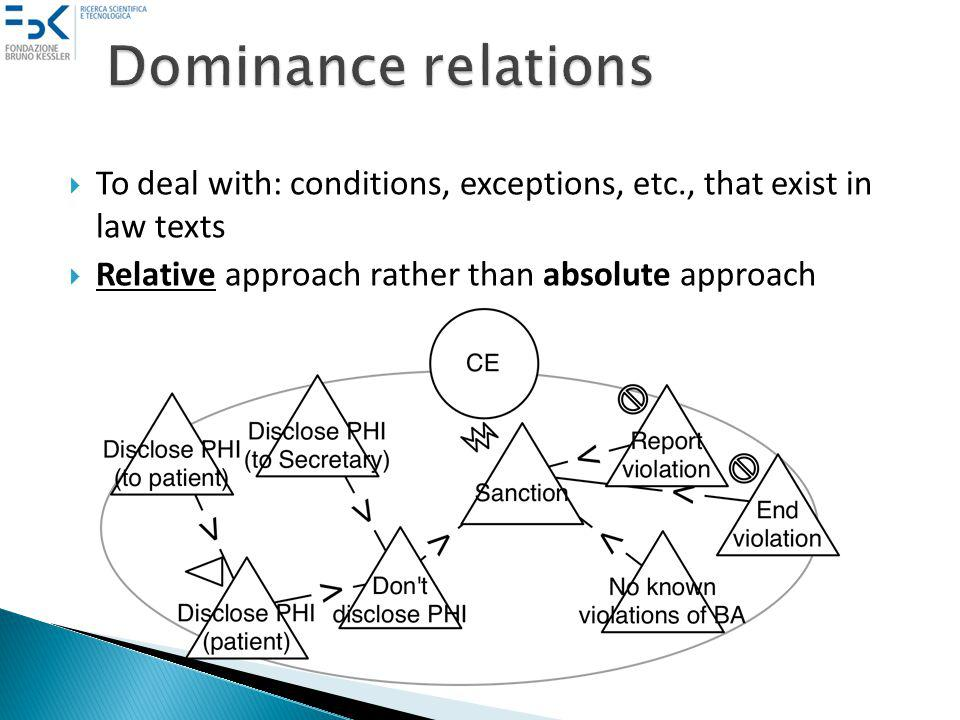 To deal with: conditions, exceptions, etc., that exist in law texts Relative approach rather than absolute approach