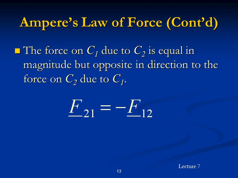 Lecture 7 13 Amperes Law of Force (Contd) The force on C 1 due to C 2 is equal in magnitude but opposite in direction to the force on C 2 due to C 1.