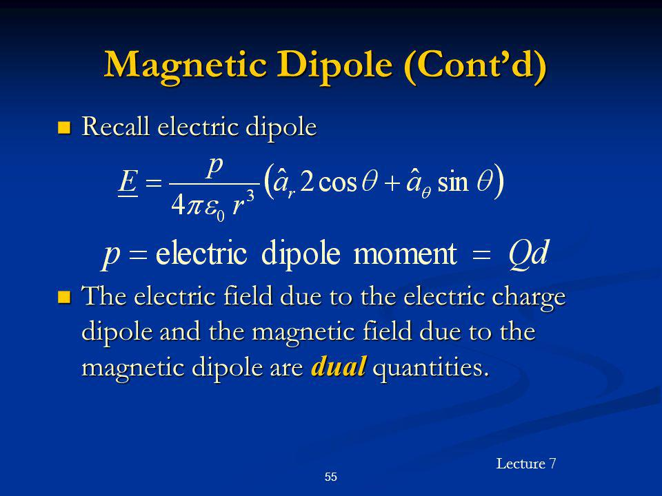 Lecture 7 55 Magnetic Dipole (Contd) Recall electric dipole Recall electric dipole The electric field due to the electric charge dipole and the magnet