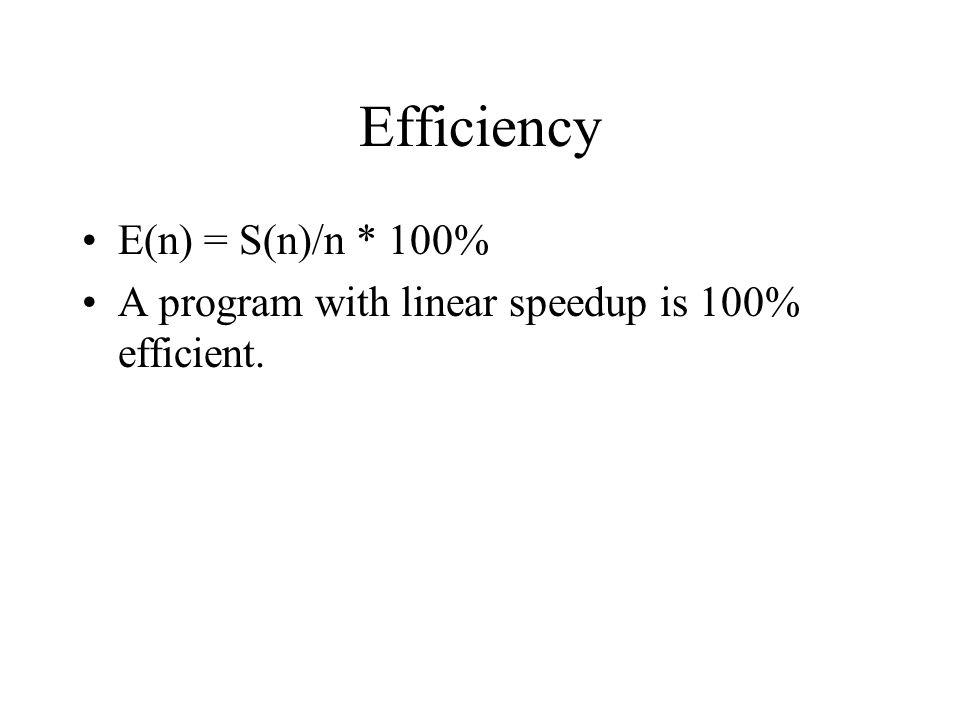 Efficiency E(n) = S(n)/n * 100% A program with linear speedup is 100% efficient.