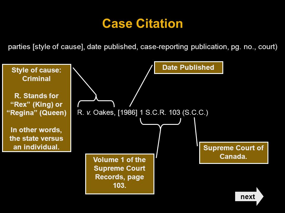 Case Citation parties [style of cause], date published, case-reporting publication, pg.