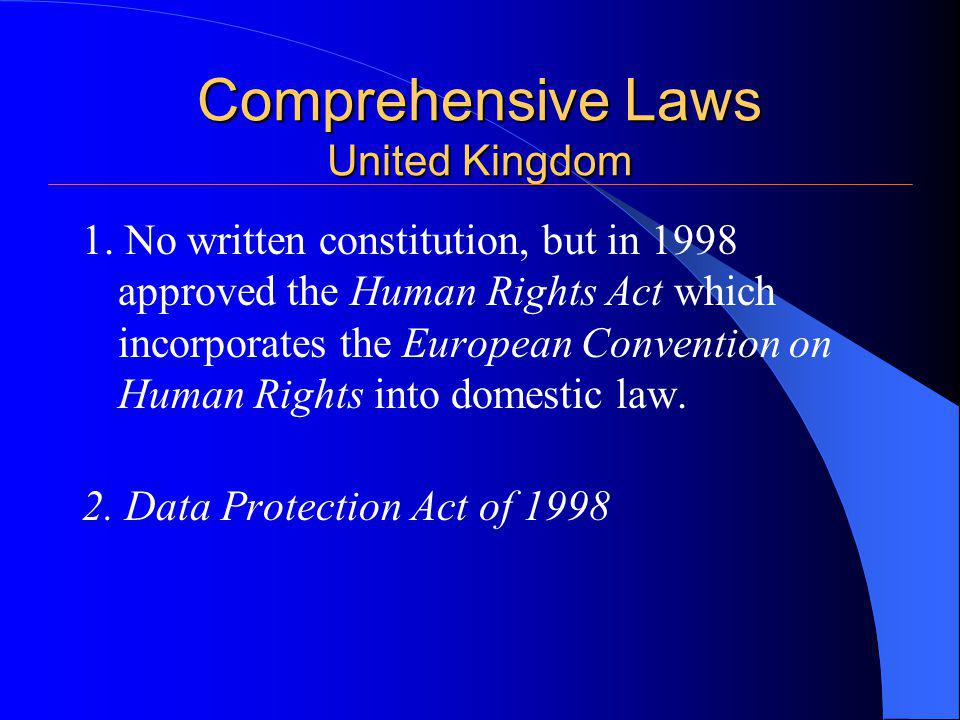 Comprehensive Laws United Kingdom 1.