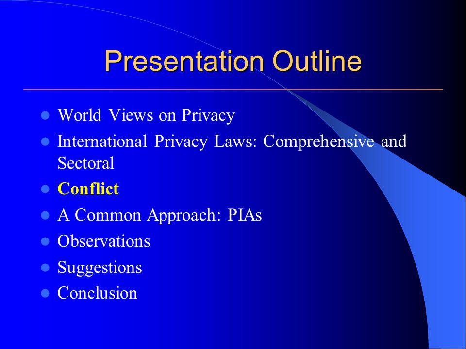 Presentation Outline World Views on Privacy International Privacy Laws: Comprehensive and Sectoral Conflict A Common Approach: PIAs Observations Sugge