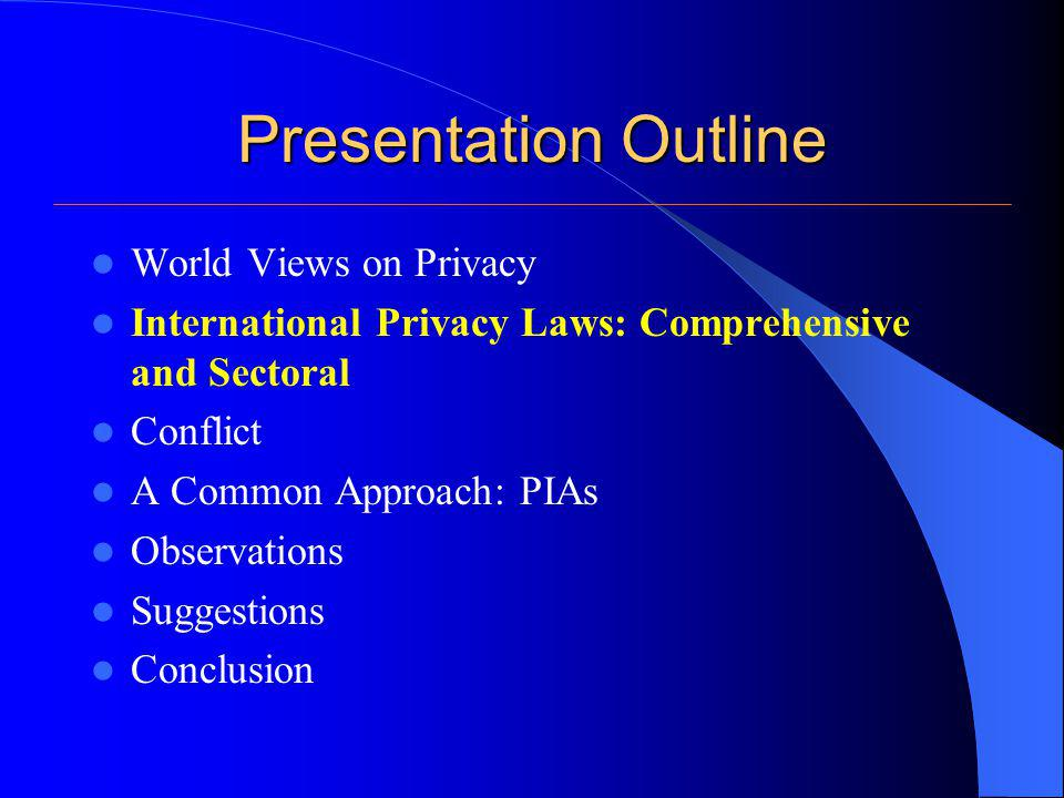 International Privacy Laws Two types of privacy laws have been established by various countries to protect privacy: Comprehensive and Sectoral