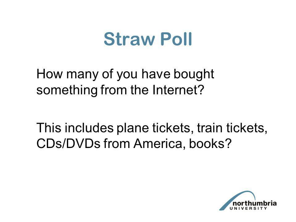Straw Poll How many of you have bought something from the Internet? This includes plane tickets, train tickets, CDs/DVDs from America, books?