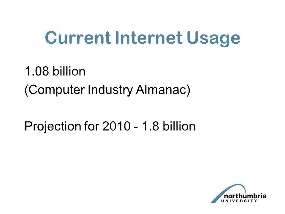 Current Internet Usage 1.08 billion (Computer Industry Almanac) Projection for 2010 - 1.8 billion