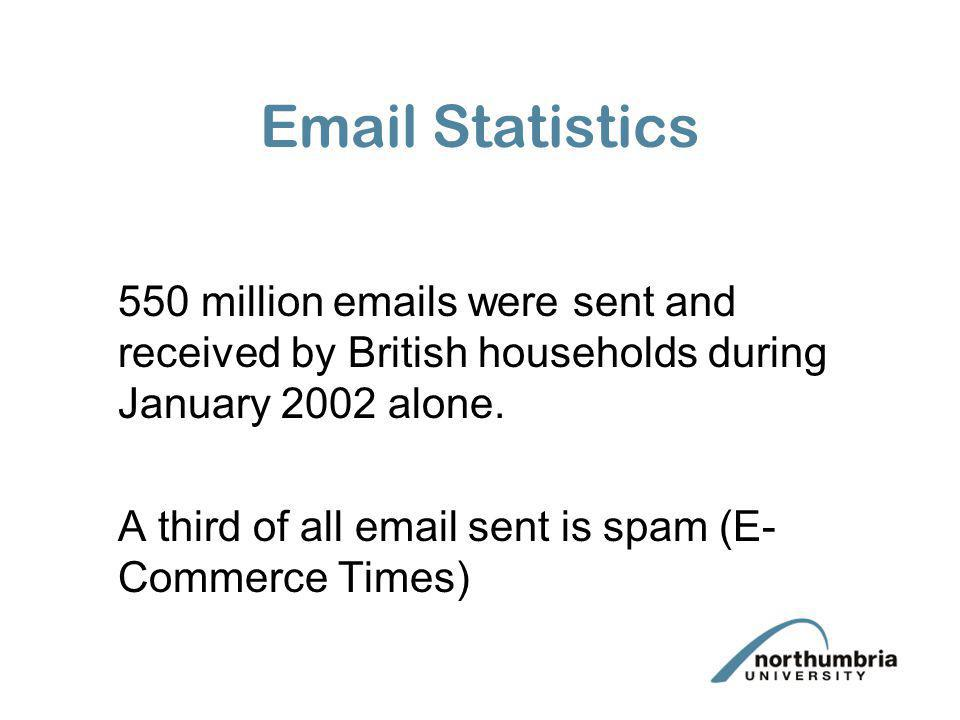 Email Statistics 550 million emails were sent and received by British households during January 2002 alone. A third of all email sent is spam (E- Comm