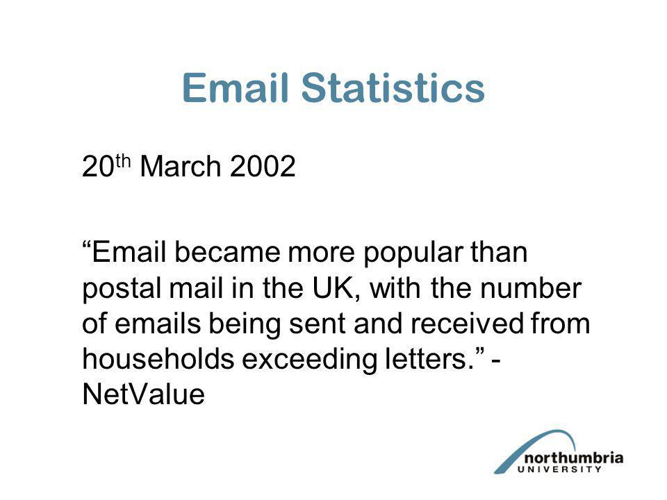 Email Statistics 20 th March 2002 Email became more popular than postal mail in the UK, with the number of emails being sent and received from househo