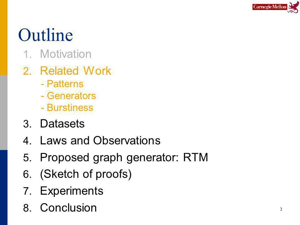 Outline 1. Motivation 2. Related Work - Patterns - Generators - Burstiness 3.