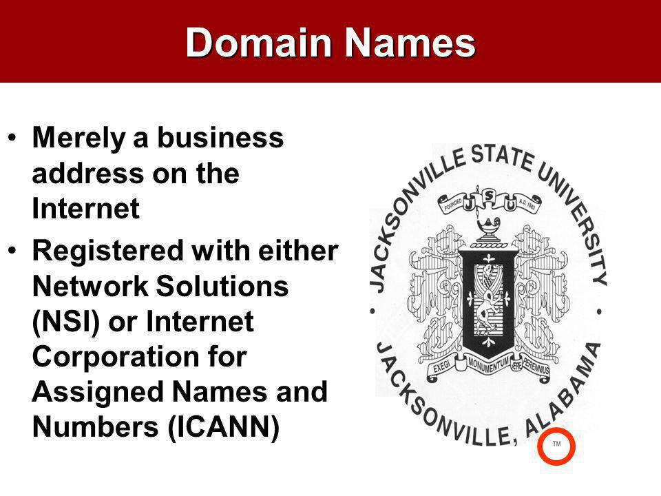Domain Names Merely a business address on the Internet Registered with either Network Solutions (NSI) or Internet Corporation for Assigned Names and N