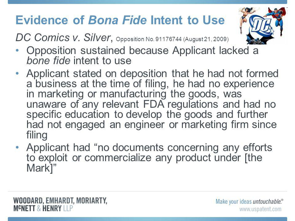 Evidence of Bona Fide Intent to Use DC Comics v. Silver, Opposition No.