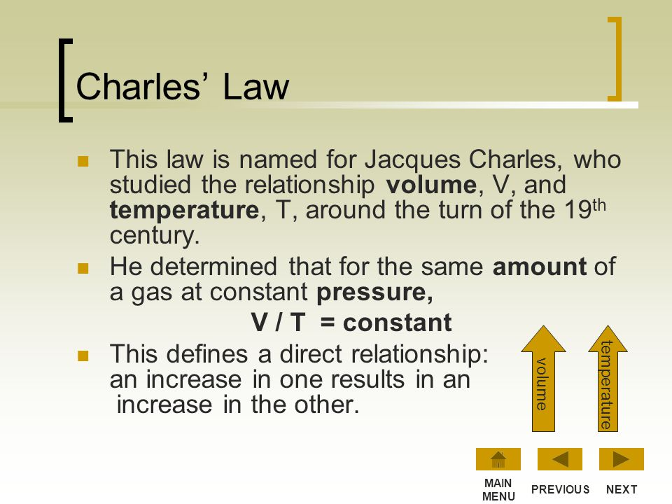 Lesson 3: Charles Law This lesson introduces Charles Law, which describes the relationship between volume and temperature of gases. NEXT MAIN MENU