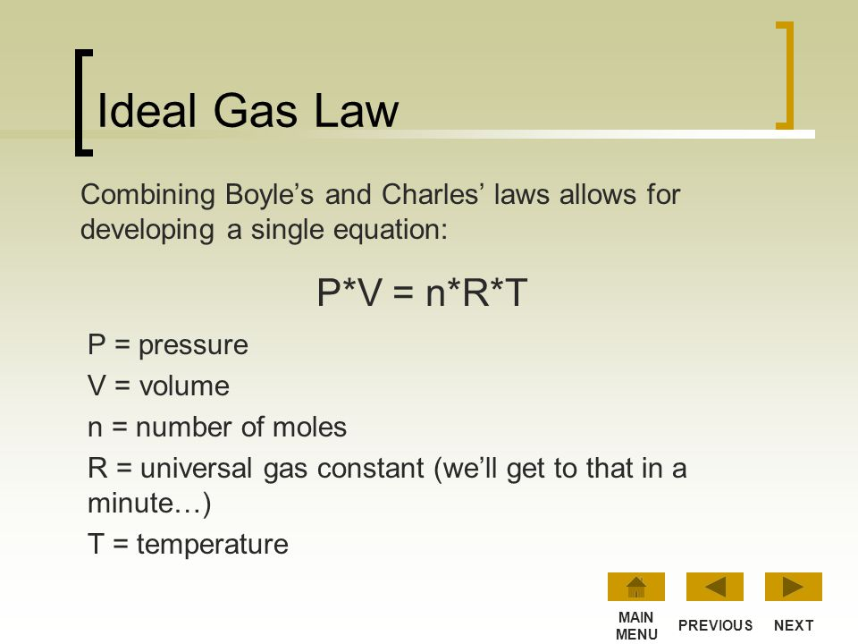 Lesson 4: Ideal Gas Law This lesson combines all the properties of gases into a single equation. NEXT MAIN MENU