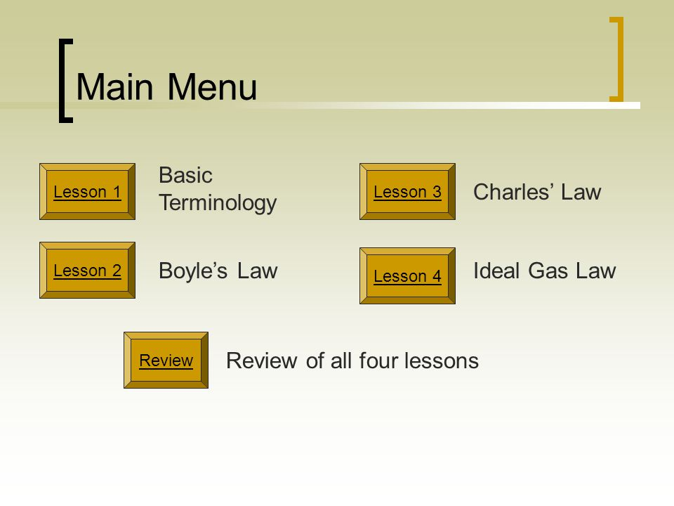 Application of Charles Law V 1 / T 1 = V 2 / T 2 V 1 = initial volume T 1 = initial temperature V 2 = final volume T 2 = final temperature If you know three of the four, you can calculate the fourth.