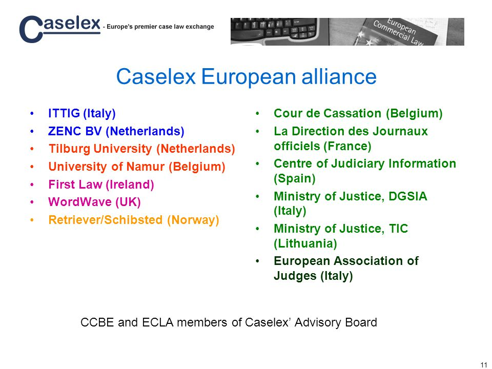 11 Caselex European alliance ITTIG (Italy) ZENC BV (Netherlands) Tilburg University (Netherlands) University of Namur (Belgium) First Law (Ireland) WordWave (UK) Retriever/Schibsted (Norway) Cour de Cassation (Belgium) La Direction des Journaux officiels (France) Centre of Judiciary Information (Spain) Ministry of Justice, DGSIA (Italy) Ministry of Justice, TIC (Lithuania) European Association of Judges (Italy) CCBE and ECLA members of Caselex Advisory Board