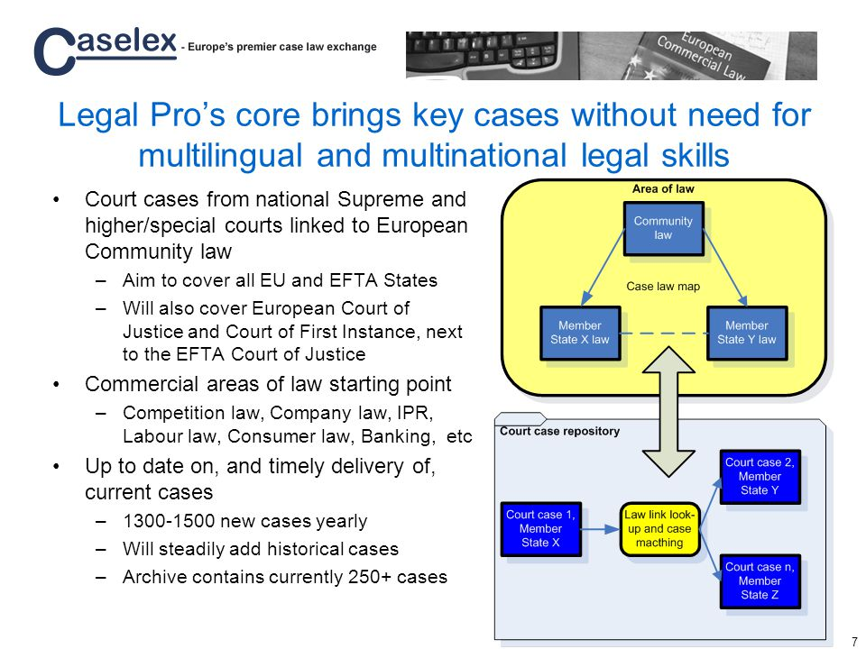 7 Legal Pros core brings key cases without need for multilingual and multinational legal skills Court cases from national Supreme and higher/special courts linked to European Community law –Aim to cover all EU and EFTA States –Will also cover European Court of Justice and Court of First Instance, next to the EFTA Court of Justice Commercial areas of law starting point –Competition law, Company law, IPR, Labour law, Consumer law, Banking, etc Up to date on, and timely delivery of, current cases –1300-1500 new cases yearly –Will steadily add historical cases –Archive contains currently 250+ cases